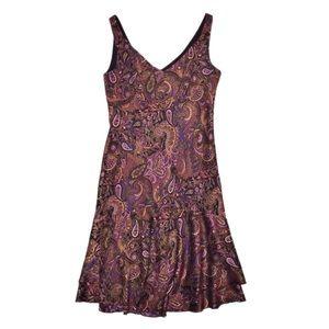 Ann Taylor LOFT Paisley Silk Dress Flounce SZ 4